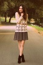 black kate spade shoes - neutral vintage top - blue vintage skirt - camel vintag