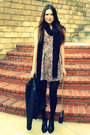 Pink-urban-outfitters-dress-black-h-m-scarf-black-h-m-hat-blue-vintage-bal