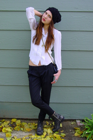 white vintage blouse - black Bebe belt - black Forever 21 hat - black Steve Madd