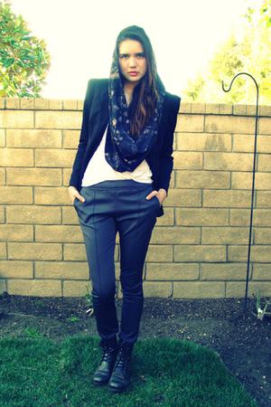black Bebe blazer - black Steve Madden boots - gray DIY scarf - gray H&M pants