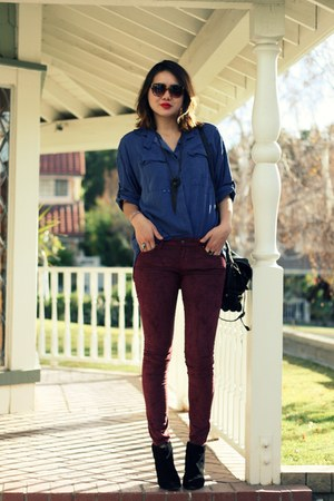 blue Seneca Rising top - black Mango boots - maroon Raven Denim pants