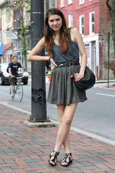 gray Forever 21 top - black vintage skirt - black Cole Haan shoes - black vintag