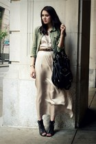 black modcloth shoes - neutral White  Warren dress - army green volcom jacket -