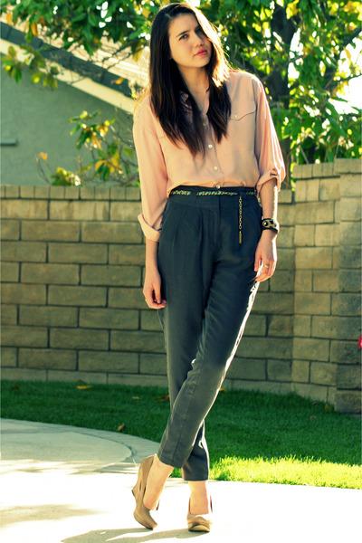 pink vintage blouse - gray vintage pants - green vintage belt - beige seychelles