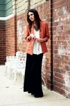 black vintage boots - coral H&M blazer - black H&M skirt - turquoise blue Foreve