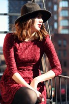 maroon Elle and the Sea dress - dark brown Urban Outfitters hat