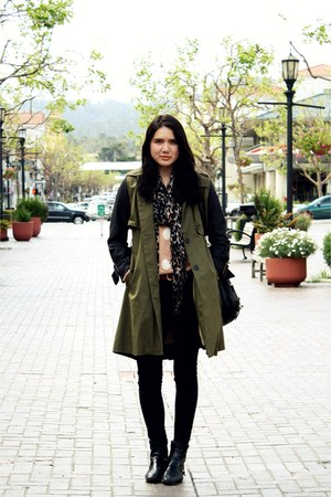 black vintage boots - olive green storets coat - black sold design lab jeans - c