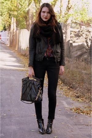 deep purple vintage top - black Zara jacket - black James Jeans jeans - black vi