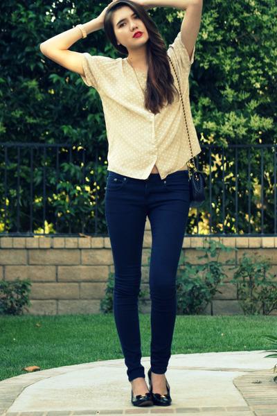 beige vintage top - blue free people jeans - black Salvatore Ferragamo shoes - b