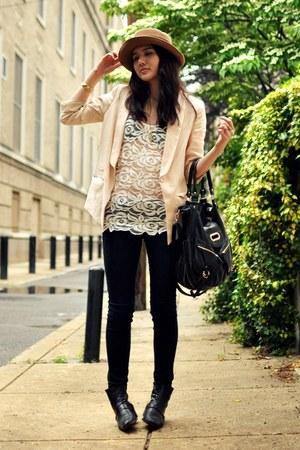 light pink H&M blazer - black vintage boots - black sold design lab jeans