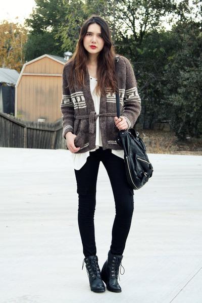 brown vintage sweater - white 80s purple top - black Hudson jeans - black 8020 s