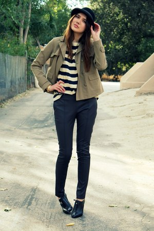 navy vintage top - puce H&M pants - camel Gap jacket - black Banan republic jack