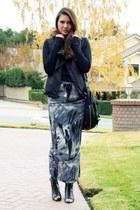 navy MinkPink skirt - black volcom top - black obey jacket - black modcloth shoe