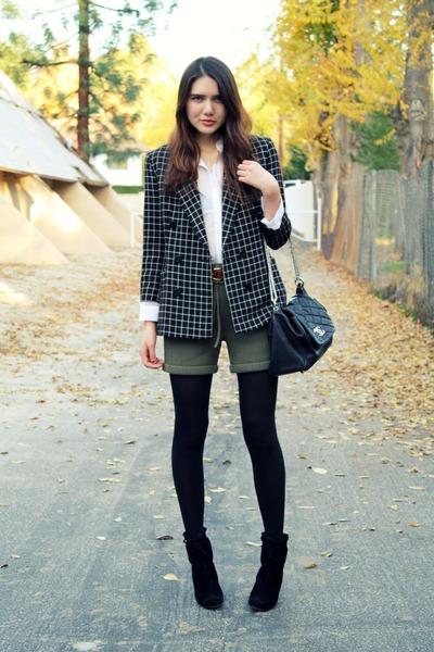 black Chanel bag - olive green asos shoes - black kate spade shoes