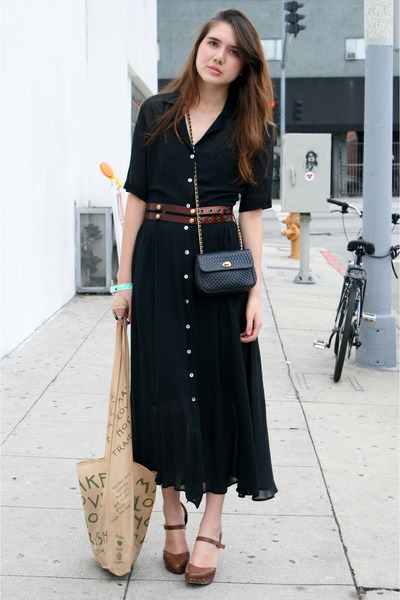 black vintage dress - brown Ayelet Shachar belt - brown seychelles shoes - blue