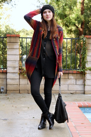 maroon Anthropologie sweater - black DKNY top - black James Jeans jeans - black