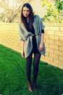 Gray-forever-21-sweater-black-akira-dress-brown-vintage-belt-brown-stuart-