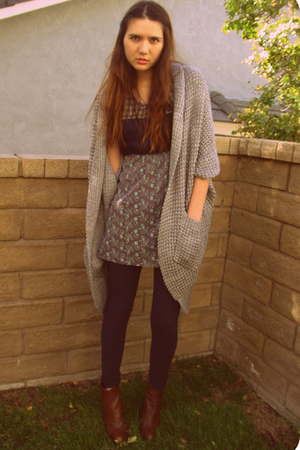 Forever 21 sweater - free people dress - abercrombie & fitch leggings - stuart w