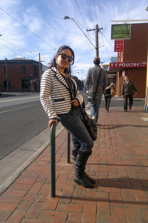 black bec and leni boots - blue wills jeans jeans - black united colors of benet