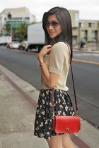gold gold crop top Leith top - black Dolce Vita boots - red coach bag