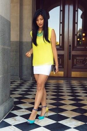 Guess Marciano skirt - IlyCouture necklace - chiffon BCBGMAXAZRIA blouse
