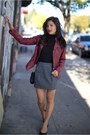 Moto-jacket-guess-jacket-checkered-zara-skirt