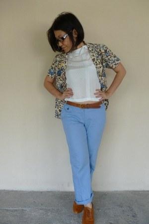 ivory vintage blazer unknown brand blazer - sky blue linen Mango pants