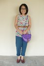 Deep-purple-vintage-unknown-bag-teal-vintage-unknown-pants