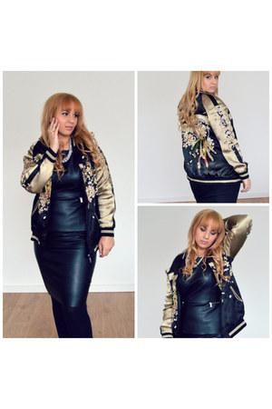 black Zara dress - silver Zara dress - tan Zara jacket - dark khaki nike wedges
