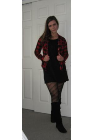black Target dress - black Wet Seal tights - black Steve Madden boots - red Targ