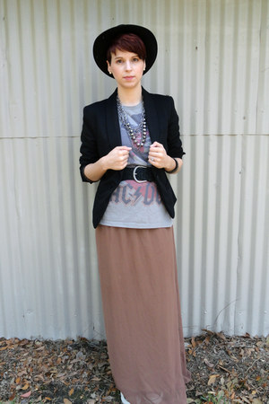brown XXI skirt - black cotton blazer merona blazer - black Converse sneakers