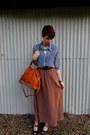 Brown-forever-21-skirt-navy-chiffon-forever-21-shirt-tawny-bag