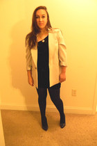 black dress - off white blazer - black tights - navy heels