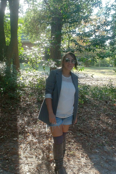 gray blazer - white top - blue shorts - gray socks - brown boots
