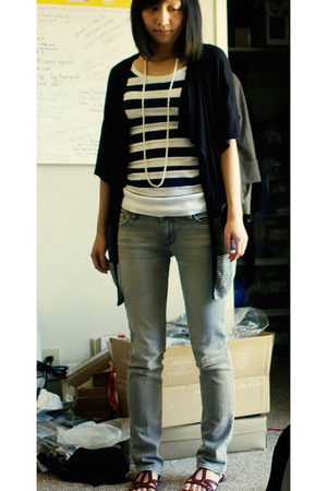 Forever 21 top - sweater - bulldog jeans - DV by dolce vita shoes - necklace