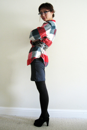 thrifted shirt - James Perse dress - Sox Appeal tights - H&M shoes - vintage bel