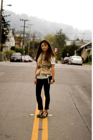 INC vest - Uniqlo t-shirt - Gap pants - vintage shoes