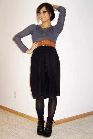 gray sheer vintage top - black lace-up Payless shoes - brown wide vintage belt