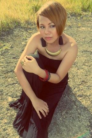 tassel earrings - maxi dress Custom-made for me dress - wood  bracelet