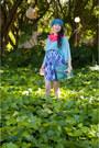 Black-kagui-boots-hot-pink-vintage-scarf-turquoise-blue-vintage-bag