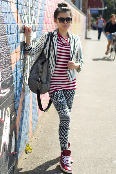 white striped Dazzling blazer - black patterned DIY leggings