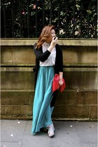turquoise blue maxi Glassons skirt - white Glassons shirt