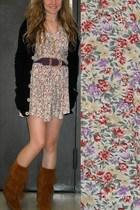 brown Minnetonka boots - black American Apparel cardigan