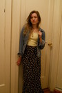 Blue-denim-guess-jacket-black-floral-maxi-skirt