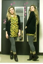 yellow dress - charcoal gray Miley & Max leggings - black American Apparel cardi