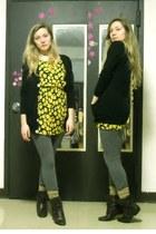 yellow dress - charcoal gray Miley & Max leggings - black American Apparel cardi