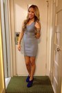 Heather-gray-bodycon-dress-xhilaration-dress-blue-booties-asos-heels
