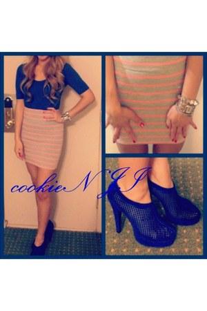 blue shirt dress Forever21 shirt - silver Forever21 skirt