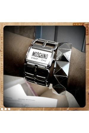 silver Forever21 bracelet - silver Moschino watch