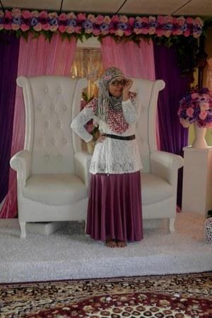 dress - cotton shawl scarf - vest - belt - glasses